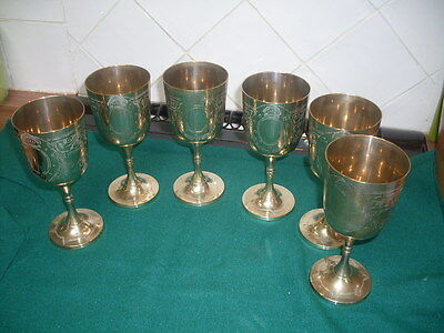 A Set Of 6 Silver Plated Vintage Goblets
