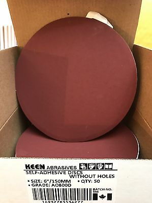 "Box of 50, KEEN #36277, 6"" PSA Paper Sanding Disc No Vac Hole 800 Grit"