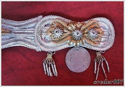 Antique Balkan Ottoman Handmade Filigree Women's Belt - Silver-Plated