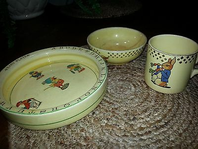 Vintage Edwin M. Knowles China Children's Bowl and Cup Set- Also Child's Plate