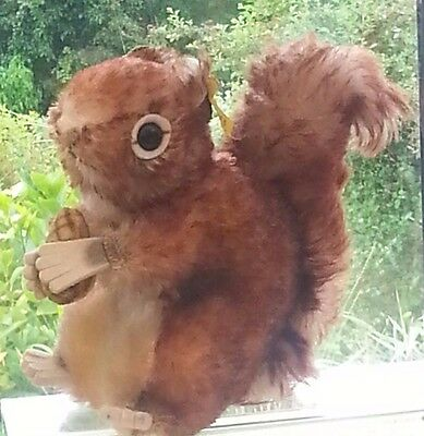 RARE 1960's Vintage STEIFF Small Squirrel Mohair Button in Ear  2040/17