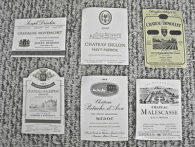 Vintage Wine Label Lot 6 French Wine Labels Dillon Malescasse Assorted