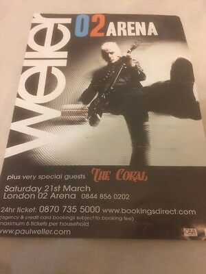 Paul Weller O2 Arena 21/03/09  Concert Advert Flyer