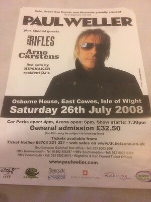 Paul Weller Isle Of Wight Concert 26/07/08 Advert Flyer