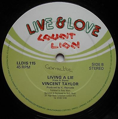 "Vincent Taylor - Living A Lie (Babylonians) Uk Live & Love 12"" Killer Heavy Root"