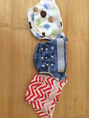 Re-useable Nappies x 6 Various Patterns inc Inserts (Pre-loved)