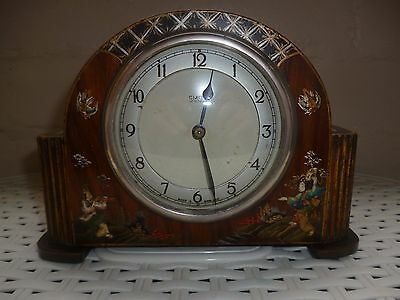 Smiths Mantle Clock With Painted Oriental Scenes