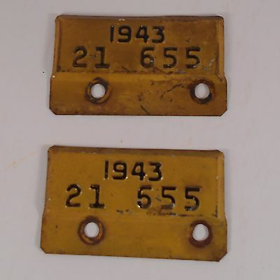 Vermont 1943 World War II License Plate Renewal Topper Tabs  2 Matching Numbers