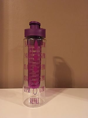 Motivational Water Bottle Decal Hydration Tracker Fitness Quote Purple Bottle