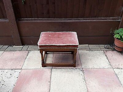 Early 20th Century Oak Joint Stool with Upholstered Seat.