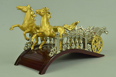 24K Real Gold Plated Chariots Horses Wine Holder Bronze Sculpture Figure Decor