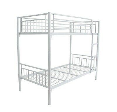 "Montreal New Single 3ft Twin Bunk Bed Metal Sleeper with 7"" Sprung Mattress"