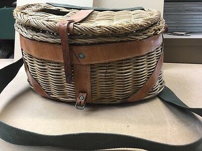 Vintage Fishing Creel Wicker, Leather and Canvas Basket