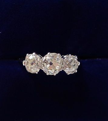 Antique Victorian 2.00ct Diamond Three Stone Ring in Platinum - Small Size L 1/2