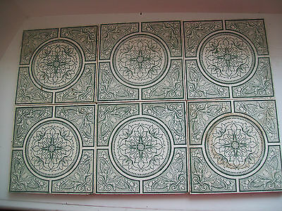 "Set Of Six Architectural Victorian Tiles By Wedgwood "" Japanesque"" Green Cream"