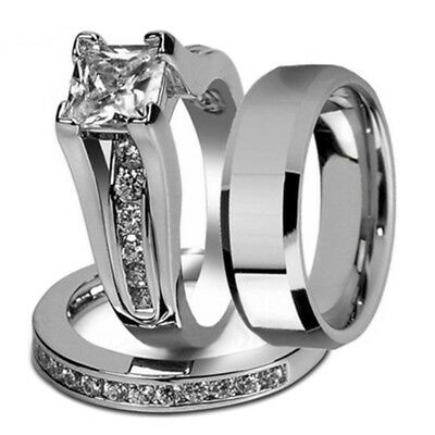 His and Hers Stainless Steel Princess Wedding Ring Set and Beveled Edge Wed N3I4