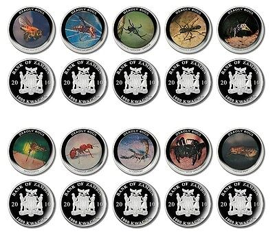 Zambia 1,000 Kwacha 24g Silver Plated 10 Pieces - PCS Coin Set, 2010,Deadly Bugs