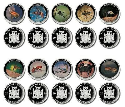 Zambia 1,000 Kwacha X 10 PCS, 24 g Silver Plated Coin Set, 2010,Mint,Deadly Bugs
