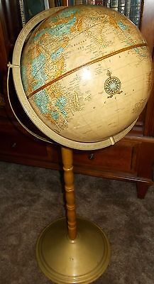 "Vintage Cram's Imperial 12"" World Globe On Metal & Wood Stand 32"" Tall"