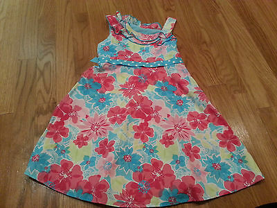 Girls' Blue and Pink floral flowers dress sleeveless size 6