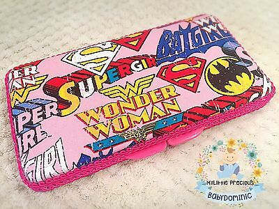 Superhero Supergirl Batgirl Wipes Small Travel Case. Wipes Case Wipes Cover Case