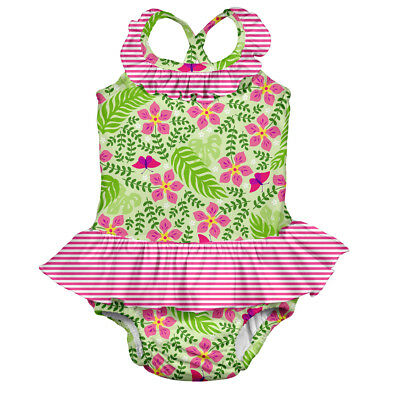 Tropical 1pc Ruffle Swimsuit w/Built-in Reusable Absorbent Swim Diaper-Lime P...