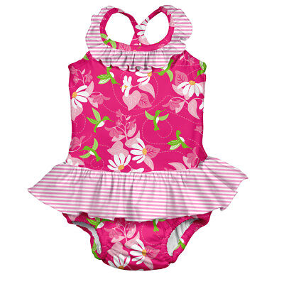 Tropical 1pc Ruffle Swimsuit w/Built-in Reusable Absorbent Swim Diaper-Fuchsi...