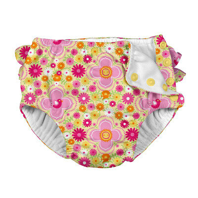 Mix & Match Ruffle Snap Reusable Absorbent Swimsuit Diaper-Yellow Fiesta Floral