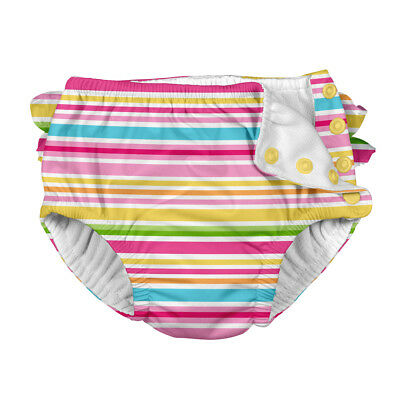 Mix & Match Ruffle Snap Reusable Absorbent Swimsuit Diaper-Pink Multistripe