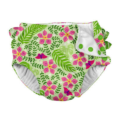 Tropical Ruffle Snap Reusable Absorbent Swimsuit Diaper-Lime Palm Garden