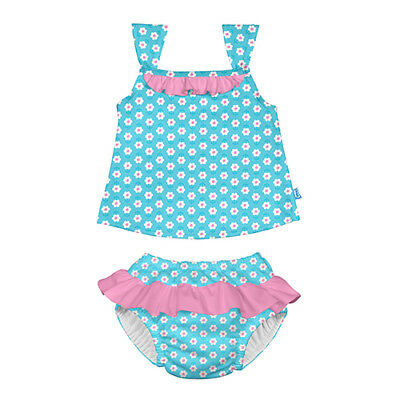 Classic 2pc Ruffle Tankini Set w/Built-in Reusable Absorbent Swim Diaper-Aqua...