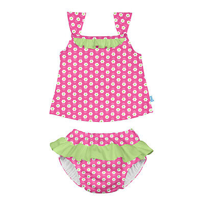 Classic 2pc Ruffle Tankini Set w/Built-in Reusable Absorbent Swim Diaper-Hot ...