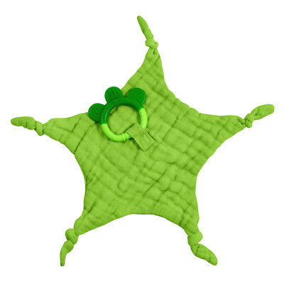 Muslin Blankie Teether made from Organic Cotton-Green-3mo+