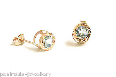 9ct Gold blue Topaz Studs earrings Made in UK Gift Boxed