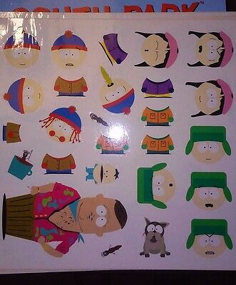 6 Sheets of unused SOUTH PARK STICKERS Vinyl Reusable NEW Stickyforms + BOOK