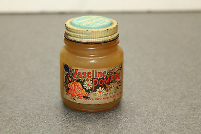 Vintage Blue Seal VASELINE POMADE Jar Chesebrough Mfg Co Glass Paper Label Full