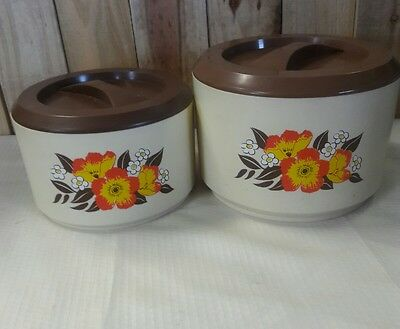 2) Vintage Sterlite Flour & Sugar Canisters w/ Lids- With Flowers on it.