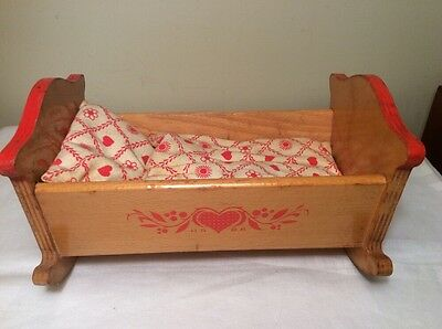 GERMAN Vintage Marked HABA Wood Doll CRADLE Bed Crib with Stenciled Heart 1960's