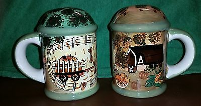 Large Ceramic Fall Farm Harvest WCL Salt and Pepper Shakers Thanksgiving