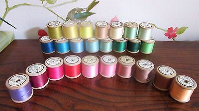 25 Vintage Wooden Sylko Cotton Reels - Variety of Colours