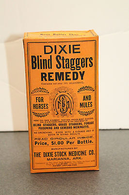 Marianna Ark Vintage Dixie Remedy Blind Staggers Box Horse Mule Quack Medicine