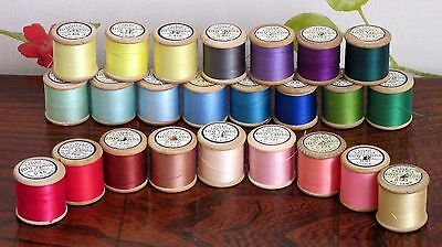 24 Vintage Wooden Sylko Cotton Reels - Variety of Colours