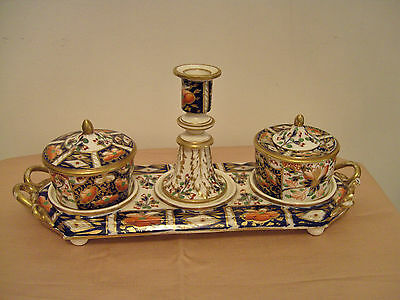 A Beautiful Ladies Rare Royal Crown Derby Desk Set - Late 1800's Hand Painted