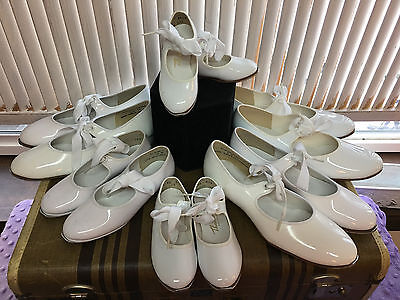 New Theatricals White Patent Tap Shoes Various Sizes Girls