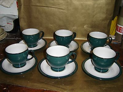 denby greenwich set of 6x cups and saucers