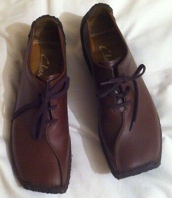 Men's Brown Leather Clarks Vintage Crepe Sole Shoes 8 Hand Lasted