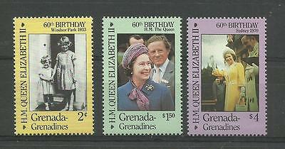 GRENADA GRENADINES 1986 Queen Elizabeth's 60th Birthday  umm / mnh set