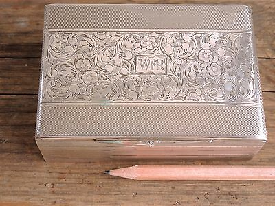Vintage Czech Solid Silver Box 835 Engraved Art Deco Jewelry Cigarette