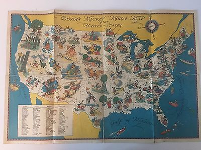 Dixon's Mickey Mouse Map of the United States - Vintage Walt Disney