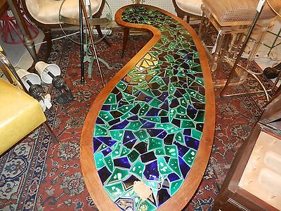 WOW! vtg mid century modern table kidney/ boomerang  mosaic coffee table